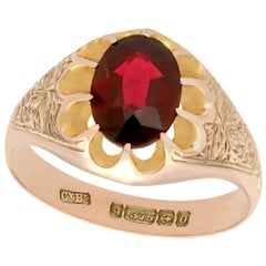 2.57 Carat Garnet and 9 karat Rose Gold Solitaire Ring, Antique, 1913