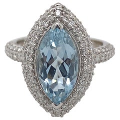2.57 Carat Marquise Aquamarine with Pave Set Diamonds Ring 18 Karat White Gold