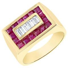 2.57 Carat Men's Ruby Diamond 14 Karat Yellow Gold Ring
