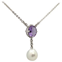 2.57 Carat Oval Cut Amethyst and South Sea Pearl Necklace 18 Carat White Gold