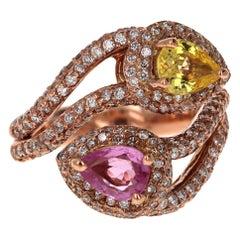 2.57 Carat Pink and Yellow Sapphire Diamond 18 Karat Rose Gold Cocktail Ring