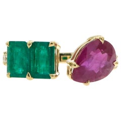 2.57 Carat Pink Pear Shaped Ruby and Emerald Ring in Diamond Band and 18k Gold