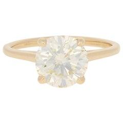 2.57 Carat Round Brilliant Diamond Ring 14 Karat Yellow Gold GIA Solitaire