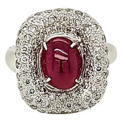 2.57 Carat Ruby Cabochon and Diamond White Gold Engagement Ring