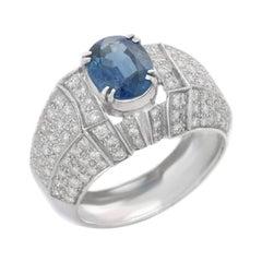 2.57 Carats Blue Sapphire Diamond 18 Karat White Gold Ring