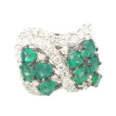 2.57 Carat of Emeralds and 1.48 of Round Diamonds Cocktail White Gold Ring