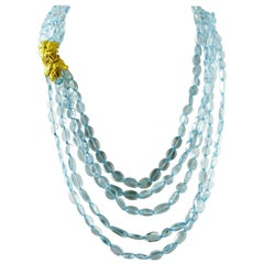 257 g Rock Crystal Multi-Strands Necklace with 18 Karat Yellow Gold Closure