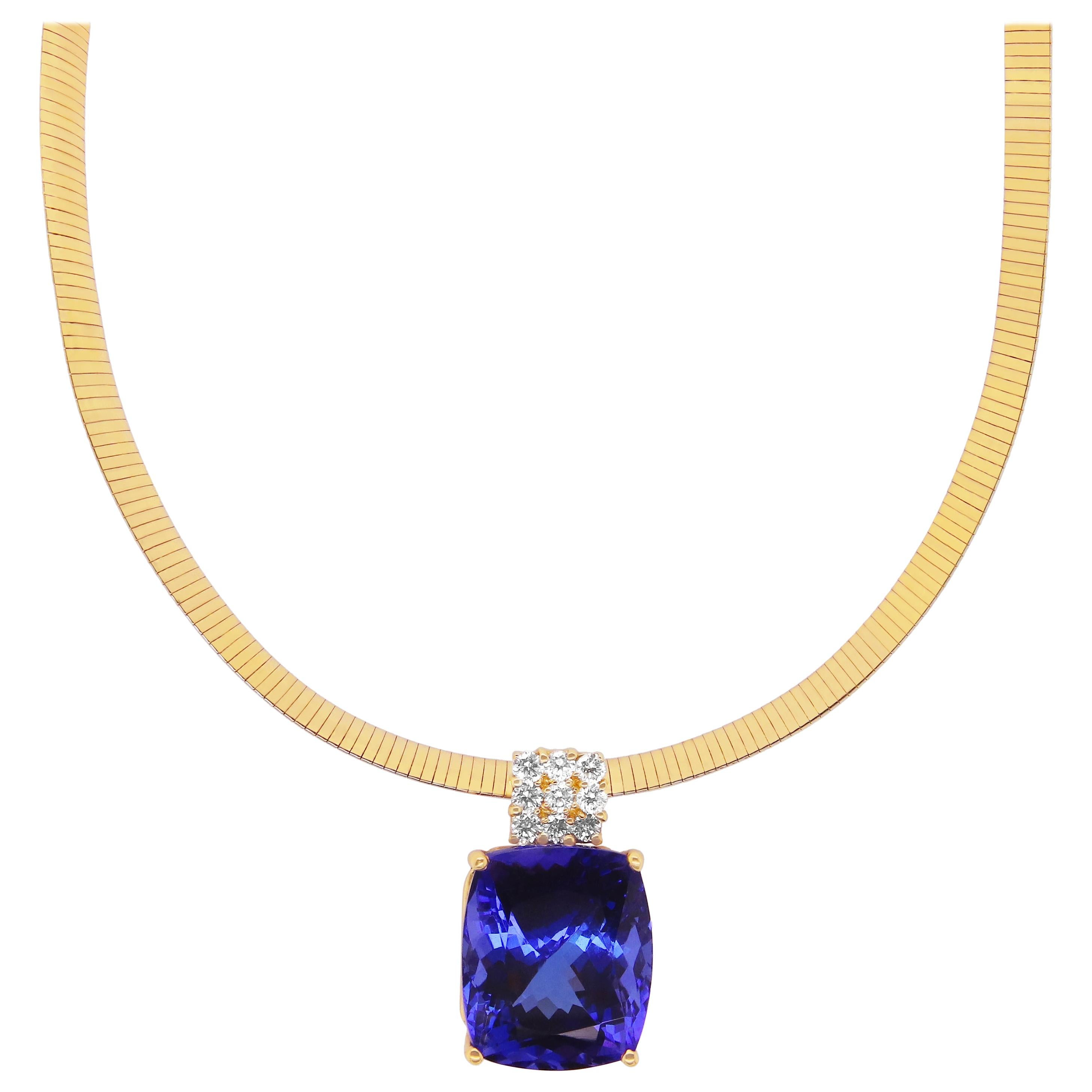 25.70 Carat Cushion Cut Tanzanite White Diamond Pendant Omega Necklace 14K Gold