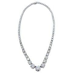 25.70 Carat Round Brilliant Diamond Riviera Platinum Necklace