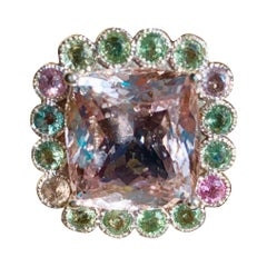 25.70 Carat Unheated Kunzite and Sapphire Cocktail Ring