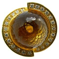 25.70 Karat Citrine Quartz Ball White Diamond 18 Carat Yellow Gold Helix Ring