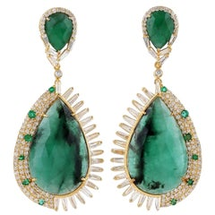 25.74 Carat Emerald 18 Karat Gold Diamond Earrings