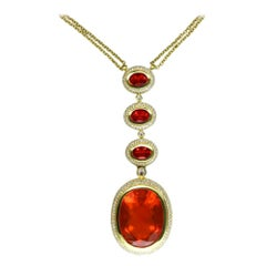 25.75 Carat Fire Opal Diamond Gold Pendant Necklace Fine Estate Jewelry