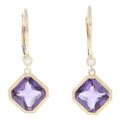 2.58 Carat Amethyst & Diamond Earrings 14k Yellow Gold Pierced Milgrain Dangles