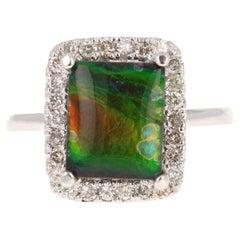 2.58 Carat Amolite Diamond 14 Karat White Gold Ring
