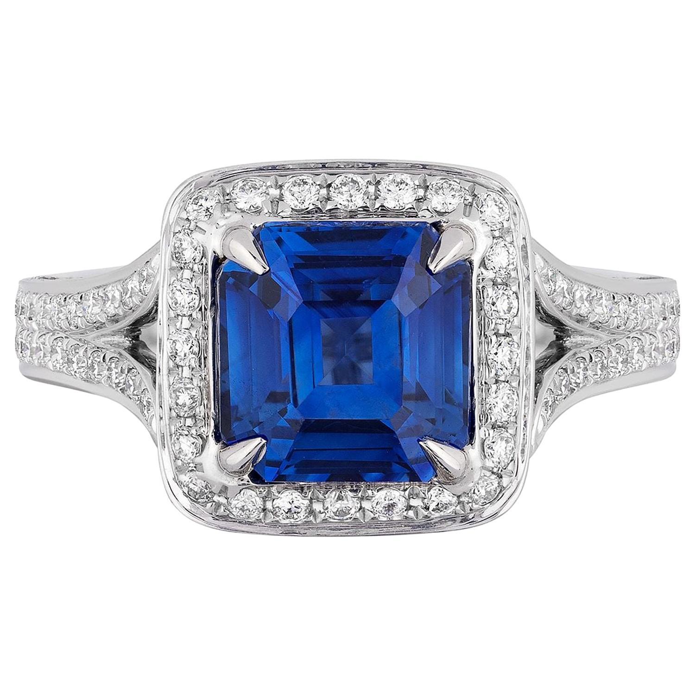 2.58 Carat Asscher Cut Blue Sapphire Diamond Cocktail Ring