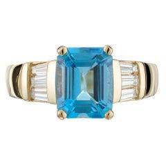 2.58 Carat Blue Topaz Diamond Yellow Gold Ring
