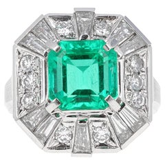 2.58 Carat Columbian Emerald and Diamond Cocktail Ring