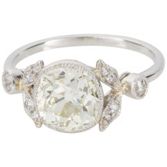 2.58 Carat Cushion Cut Diamond Platinum Engagement Ring