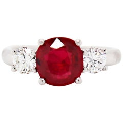 2.58 Carat Cushion Cut Ruby and Diamond Three-Stone Engagement Ring