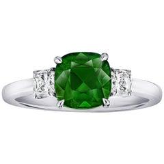 2.58 Carat Cushion Green Tsavorite and Diamond Ring