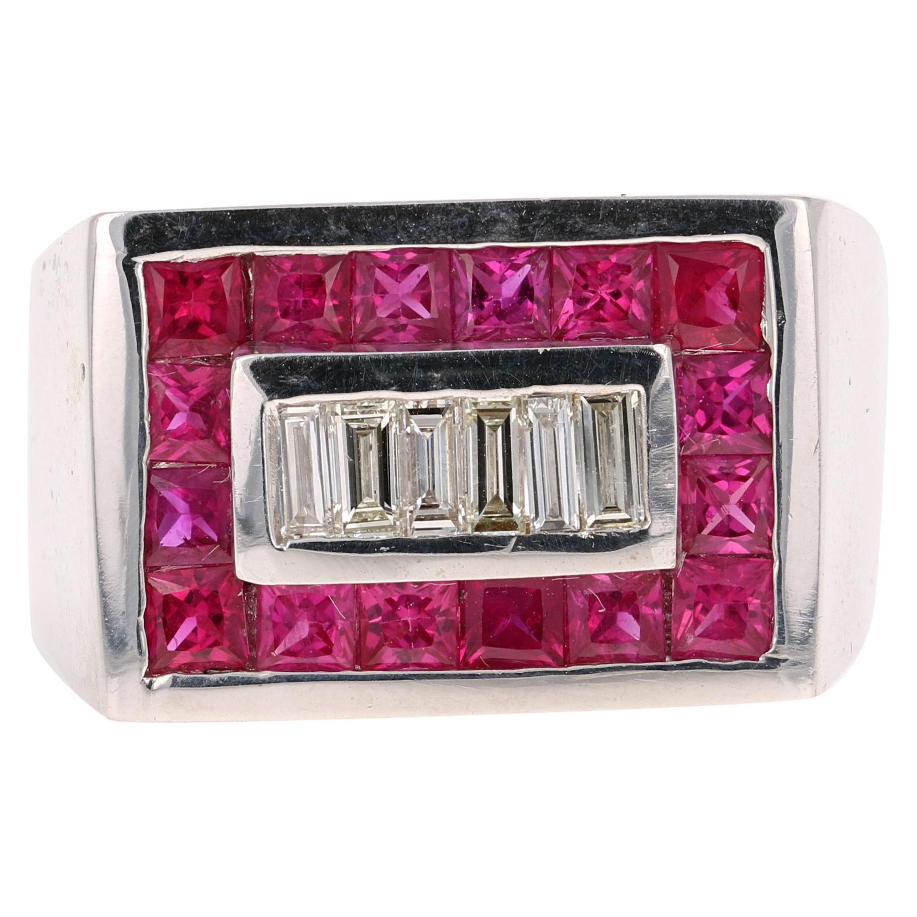 2.58 Carat Men's Ruby Diamond 14 Karat White Gold Ring