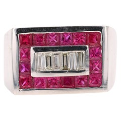 2.58 Carat Men's Ruby Diamond 14 Karat White Gold Ring