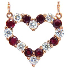 2.58 Carat Natural Vivid Red Ruby Diamond Heart Necklace 14 Karat