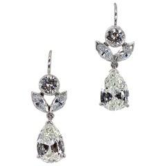 2.58 Carat Diamond Vintage Platinum Earrings