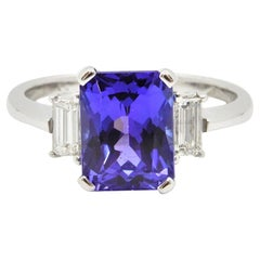 2.58 Carat Radiant Cut Tanzanite Diamond Cocktail Ring