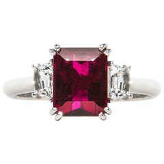 2.58 Carat Red Rubellite Emerald Cut Diamond Three-Stone Ring Natalie Barney