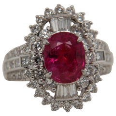 2.58 Carat Ruby and Diamond Ring in 18 Karat Gold