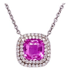 2.58 Carat Unheated Pink Sapphire with 1.75 Carat Total Diamond Halo Necklace