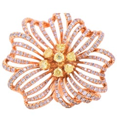 2.58 Carat Round Natural Fancy Yellow and Natural Fancy Pink Diamonds 18K Gold