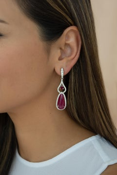 25.86 Carat Ruby Cabochon and Diamond Drop Earrings in 18 Karat White Gold