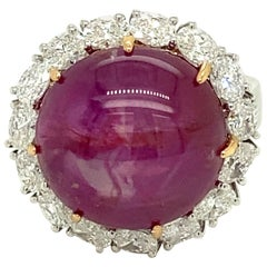 25.89 Carat GRS Certified Unheated Burmese Star Ruby and White Diamond Gold Ring