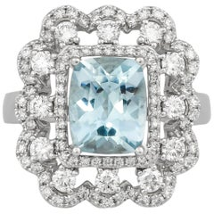 2.59 Carat Aquamarine and Diamond Ring in 18 Karat White Gold