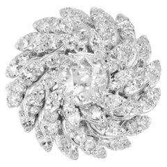 2.59 Carat Diamond Petal White Gold Cocktail Ring