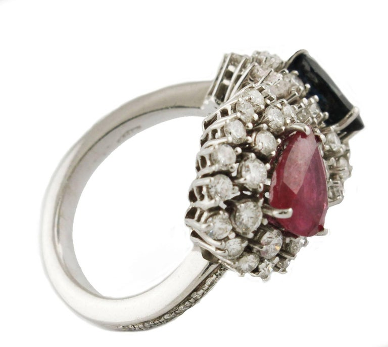 Diamond  Sapphire Ruby White Gold Ring In Good Condition For Sale In Marcianise, Caserta