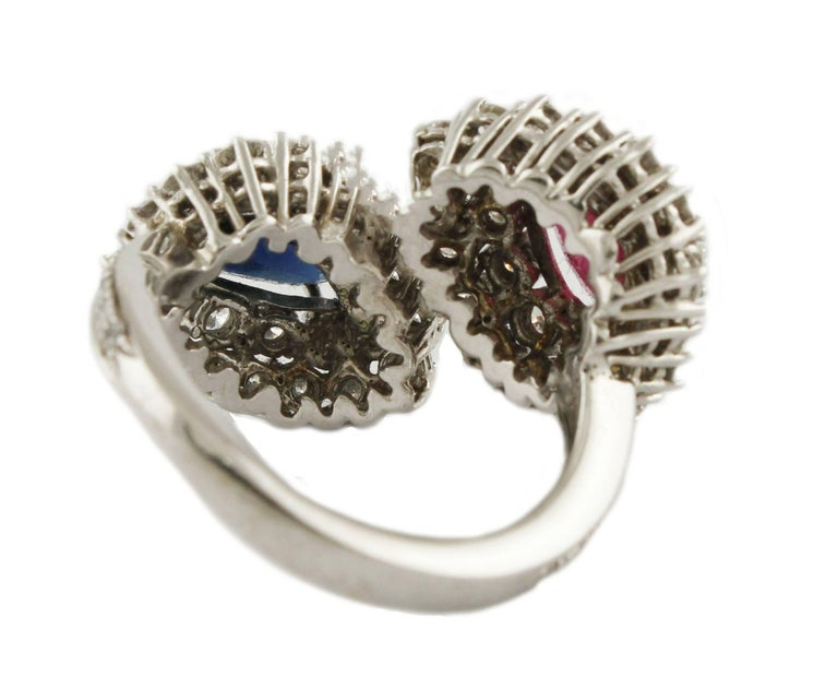 Women's Diamond  Sapphire Ruby White Gold Ring For Sale