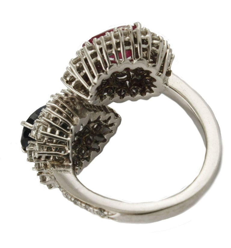 Diamond  Sapphire Ruby White Gold Ring For Sale 1