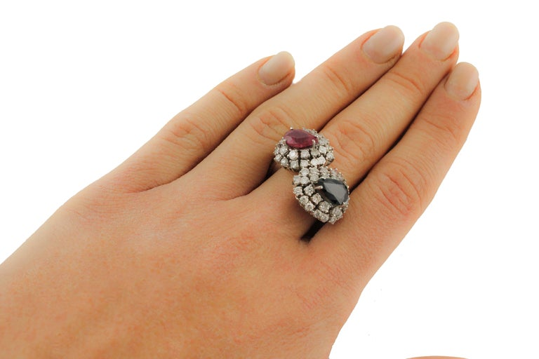 Diamond  Sapphire Ruby White Gold Ring For Sale 2