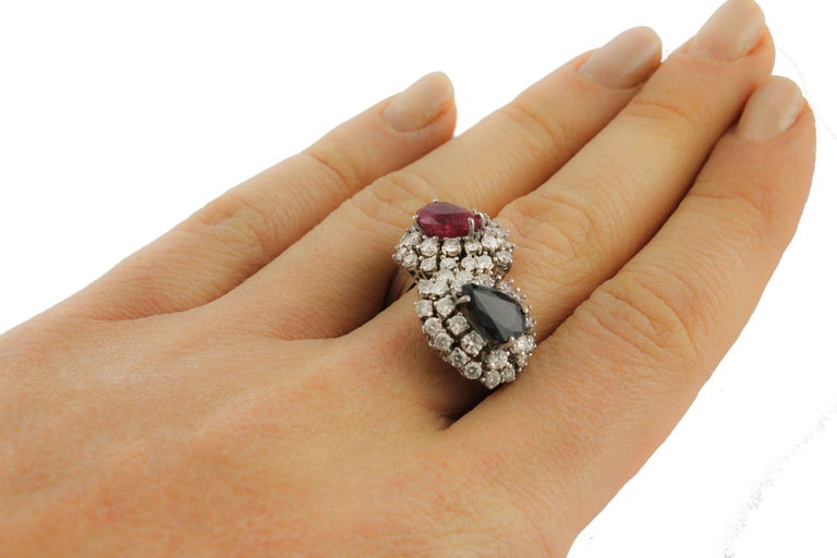 Diamond  Sapphire Ruby White Gold Ring For Sale 3