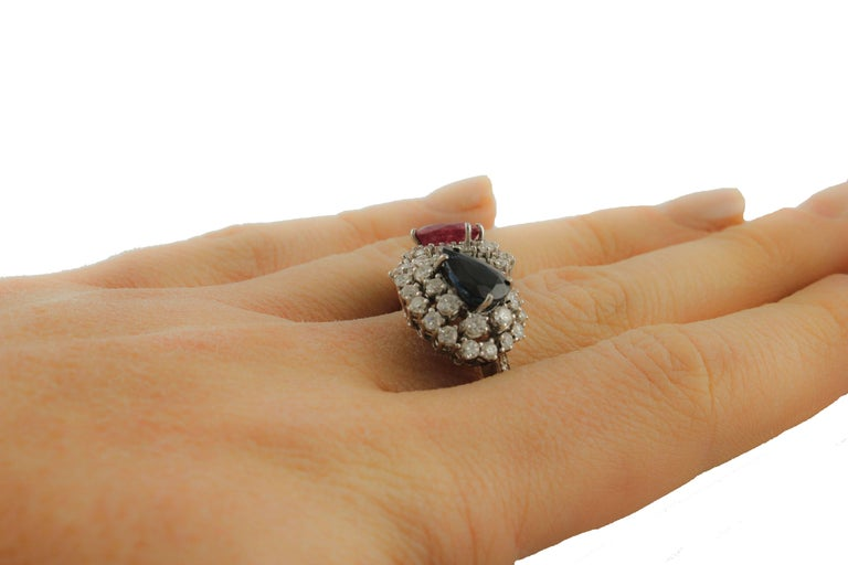 Diamond  Sapphire Ruby White Gold Ring For Sale 4