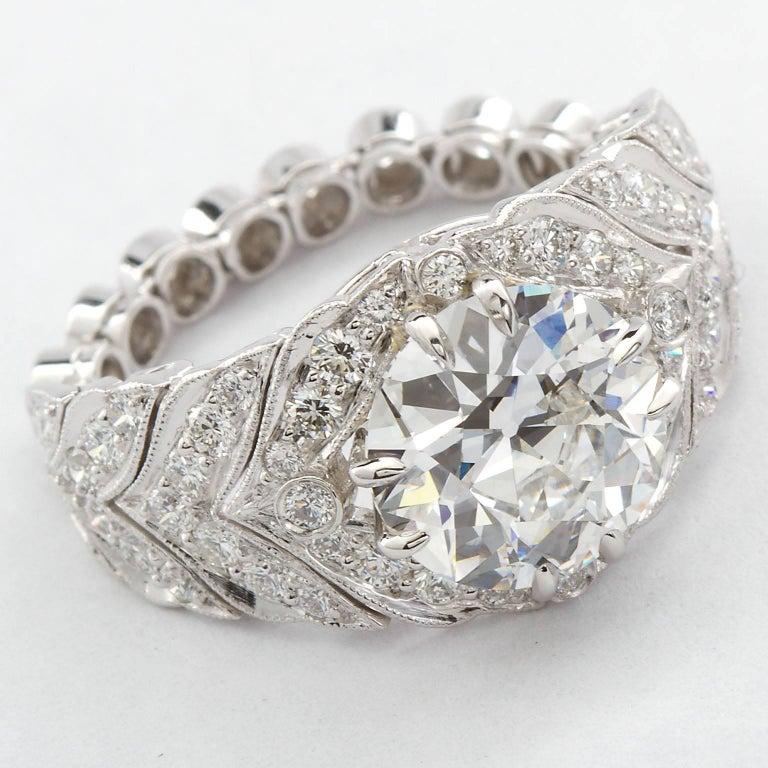 Art Deco 2.59 Carat F VVS2 Old European Diamond in Platinum Deco Style Ring GIA For Sale