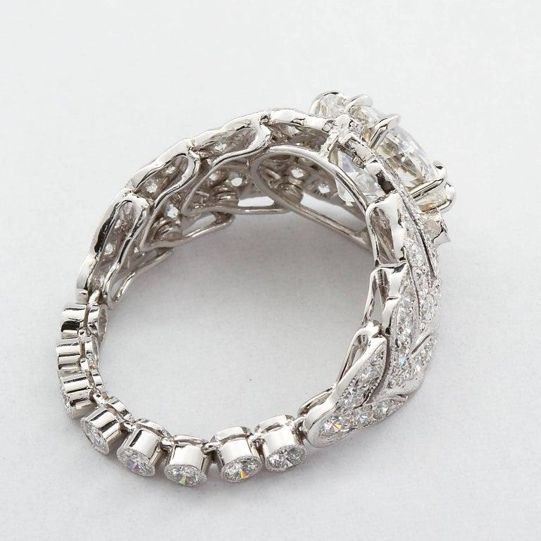 Old European Cut 2.59 Carat F VVS2 Old European Diamond in Platinum Deco Style Ring GIA For Sale
