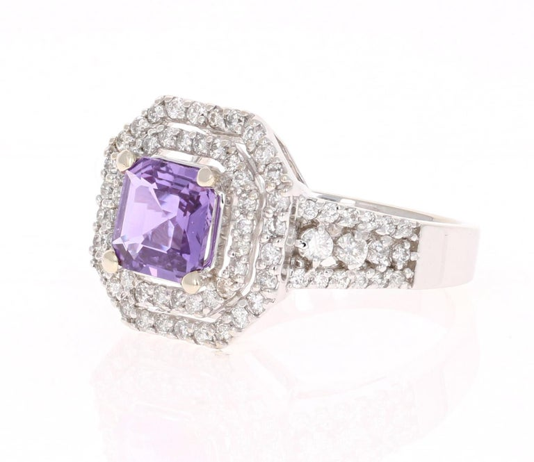 Magnificent Purple Sapphire and Diamond Ring!  This beautiful ring has a Square-Asscher Cut Purple Sapphire that is GIA Certified. GIA Certificate number is: 51707047.  The ring is embellished with 84 Round Cut Diamonds weighing 0.89 Carats with a