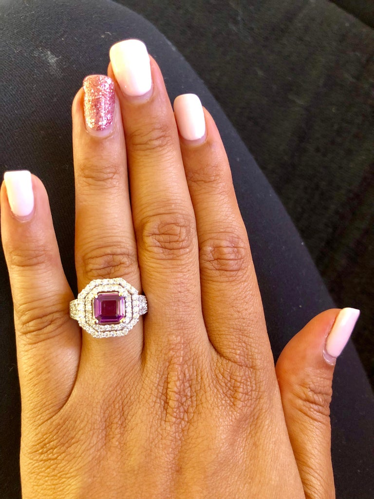 2.59 Carat GIA Certified Purple Sapphire Diamond 14 Karat White Gold Ring In New Condition For Sale In Los Angeles, CA