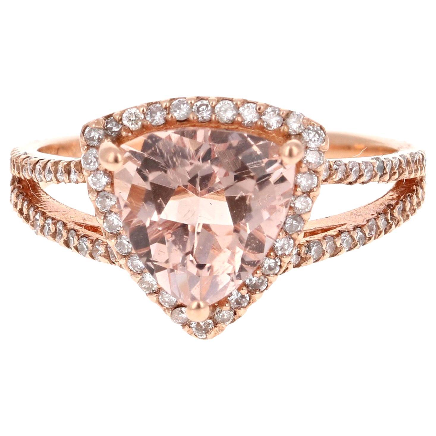 2.59 Carat Morganite Diamond 14 Karat Rose Gold Cocktail Ring