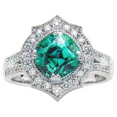 2.59 Carat Namibian Intense Green Tourmaline Cushion Diamond Ring Natalie Barney